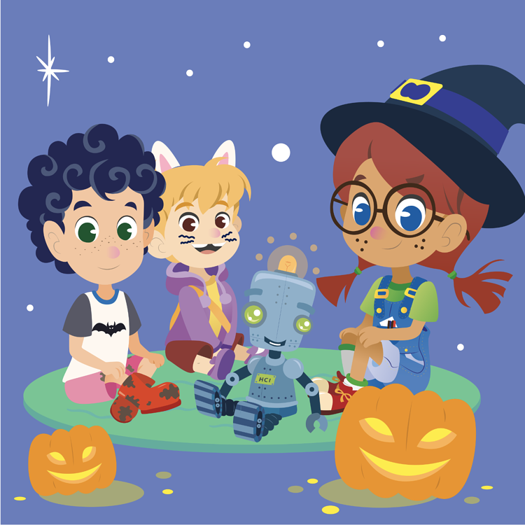 kelvin, ester, pi, and hoseli dressed up for halloween